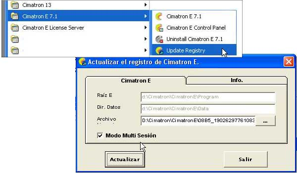Inicio de varias sesiones de Cimatron al mismo tiempo